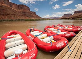 Docked rafts at the Red Cliffs Lodge lunch pavillion