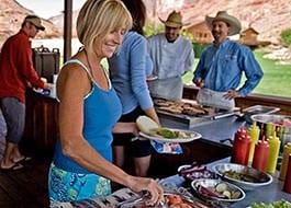 Lunch buffet at the Red Cliffs Lodge lunch pavillion