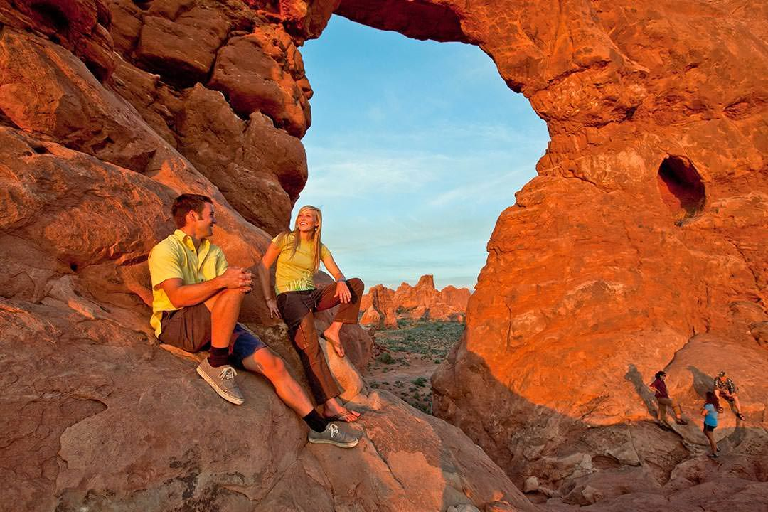 Moab Arches National Park Couple Green