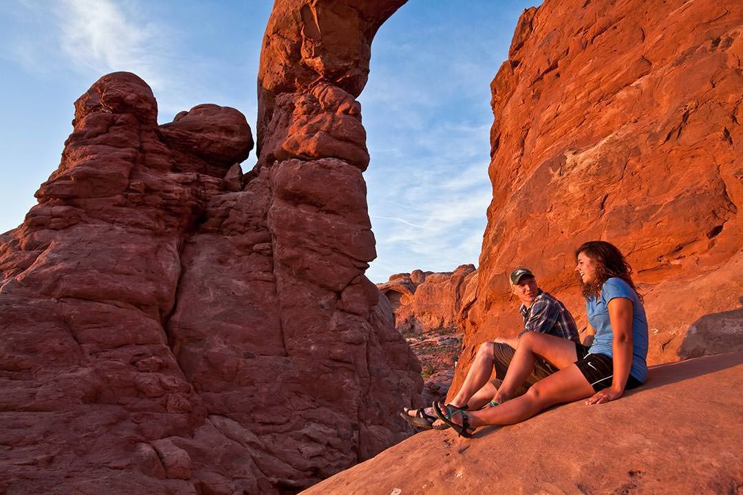 Moab Arches National Park Young Couple