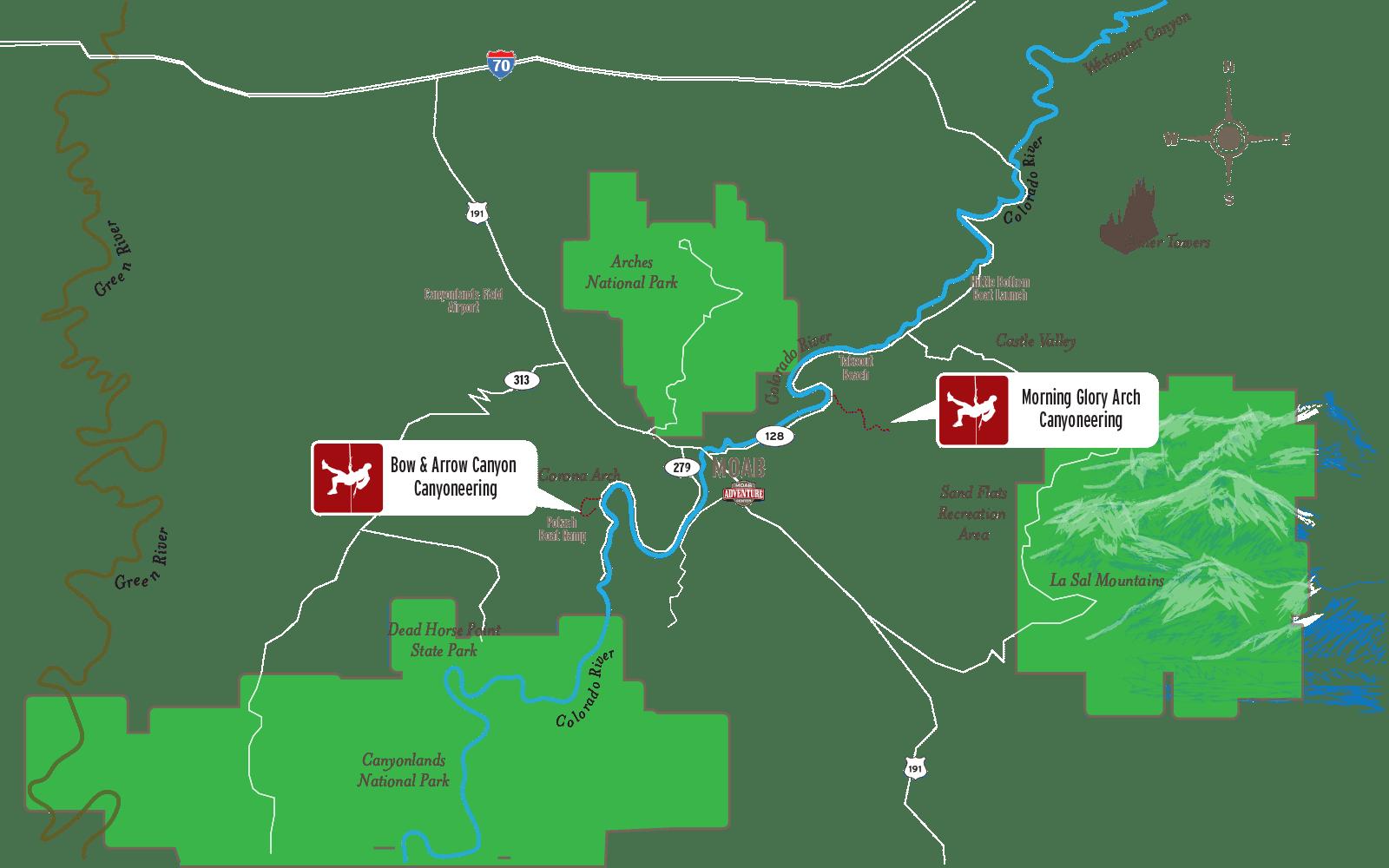 Canyoneering Moab map
