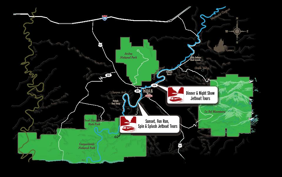 moab jetboat tours map