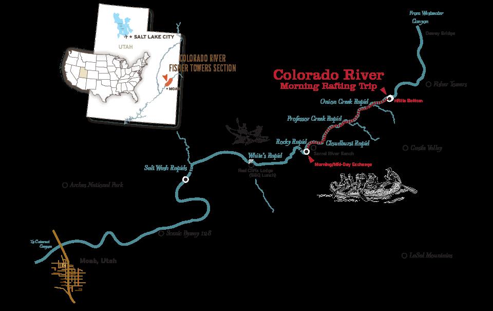 Moab rafting morning map