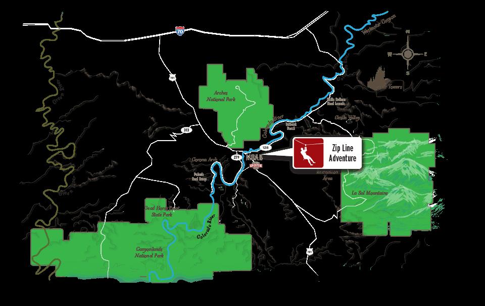 Moab Zip Line Map
