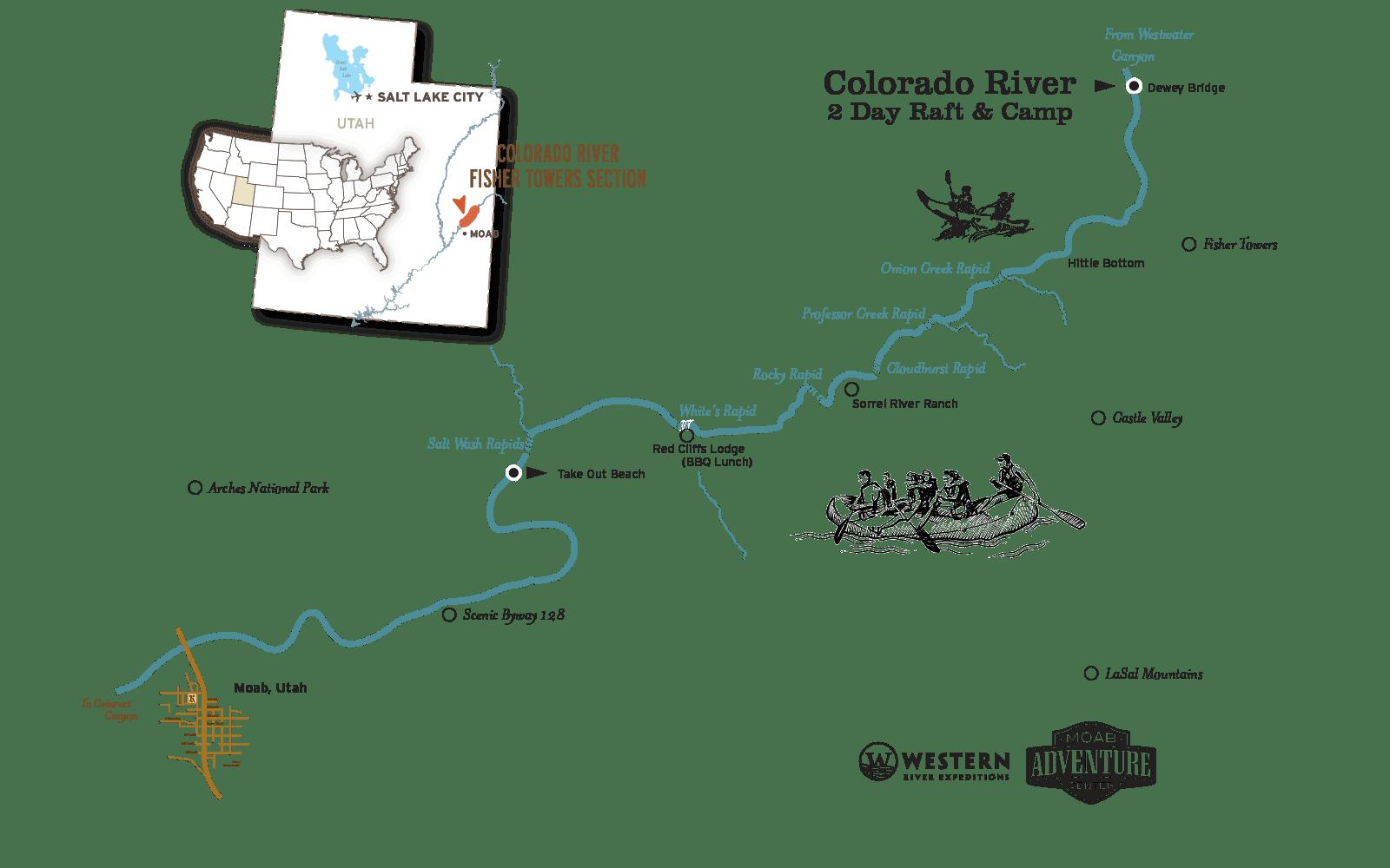 colorado river raft and camp map